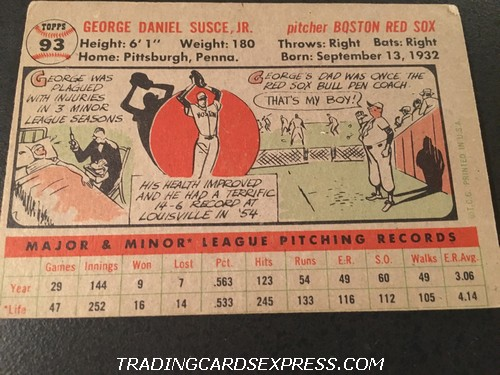 George Susce Jr. Red Sox 1956 Topps 93 Back