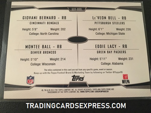 Giovani Bernard Bengals LeVeon Bell Steelers Montee Ball Broncos Eddie Lacy Packers 2013 Topps Prime Quad Combo Jersey Card QCRBBBL 025 373 Back