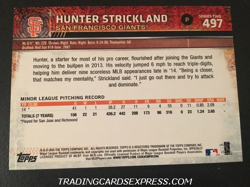 Hunter Strickland Giants 2015 Topps Rookie Card 497 Back