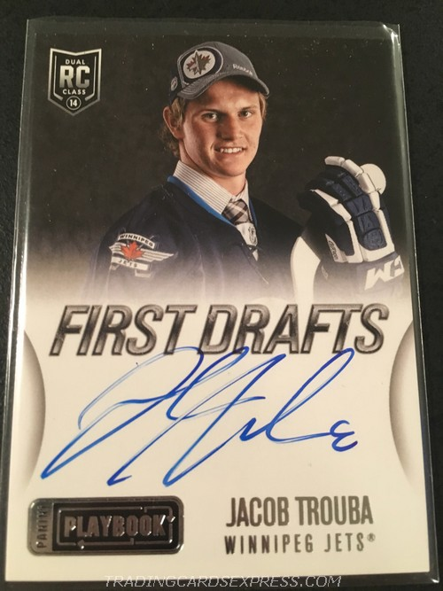 Jacob Trouba Jets 2013 2014 Panini Playbook First Drafts Autograph Rookie Card FDJTR Front