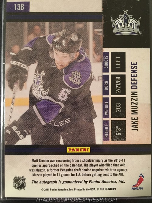 Jake Muzzin Kings 2010 2011 Playoff Contenders Autograph Rookie Card 138 Back