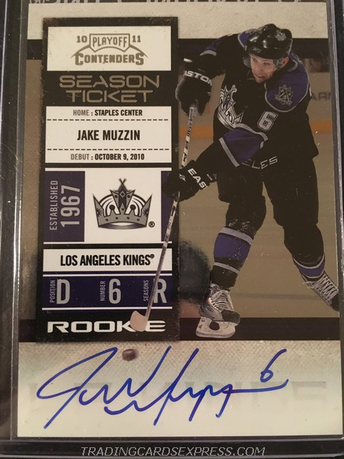 Jake Muzzin Kings 2010 2011 Playoff Contenders Autograph Rookie Card 138 Front