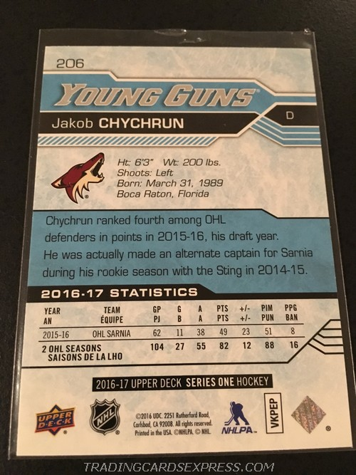Jakob Chychrun Coyotes 2016 2017 Upper Deck Young Guns Rookie Card 206 Back