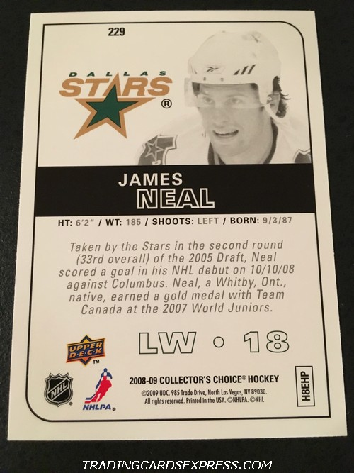 James Neal Stars 2008 2009 Upper Deck Collectors Choice Rookie Card 229 Back