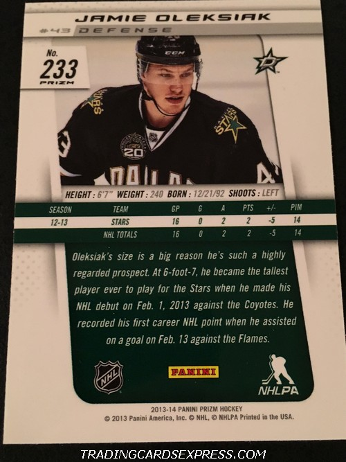 Jamie Oleksiak Stars 2013 2014 Panini Prizm Blue Reflector Rookie Card 233 Back