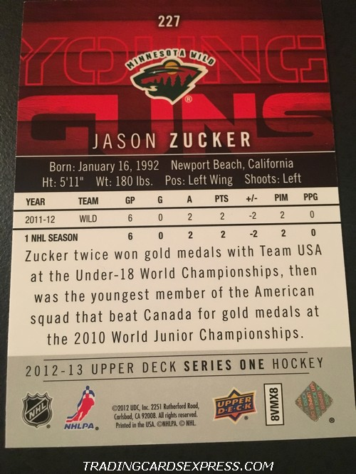 Jason Zucker Wild 2012 2013 Upper Deck Young Guns Rookie Card 227 Back
