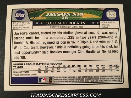 Jayson Nix Rockies 2008 Topps Rookie Card 333 Back