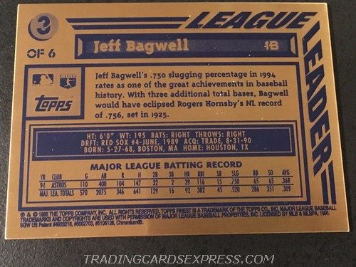 Jeff Bagwell Astors 1995 Topps Finest Bronze 3 Back