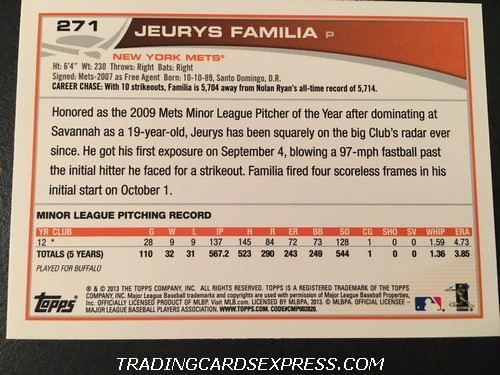 Jeurys Familia Mets 2013 Topps Rookie Card 271 Back