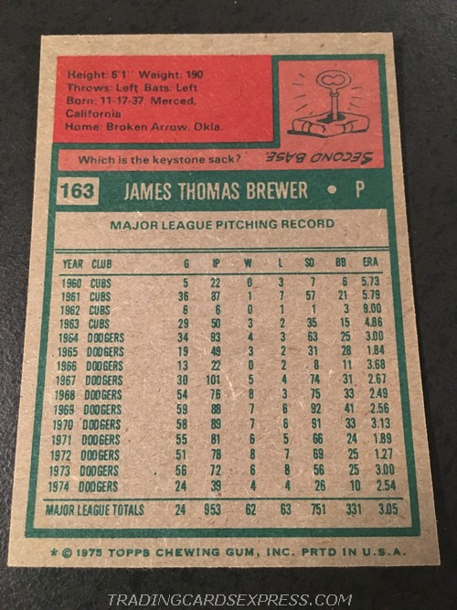 Jim Brewer Dodgers 1975 Topps Mini 163 Back