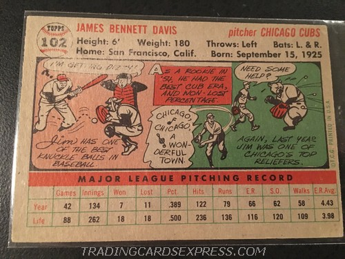 Jim Davis Cubs 1956 Topps 102 Back