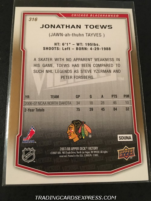 Jonathan Toews Blackhawks 2007 2008 Upper Deck Victory Rookie Card 316 Back