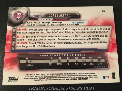 Jorge Alfaro Phillies 2017 Topps Bowman Rookie Card 60 Back