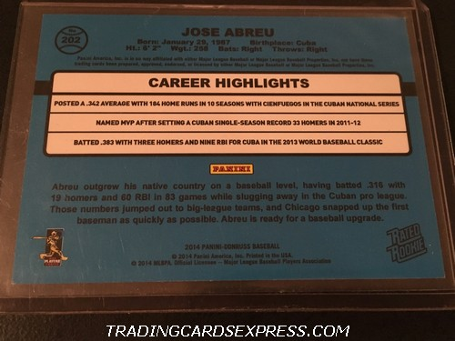 Jose Abreu White Sox 2014 Panini Donruss Rated Rookie Card 202 Back