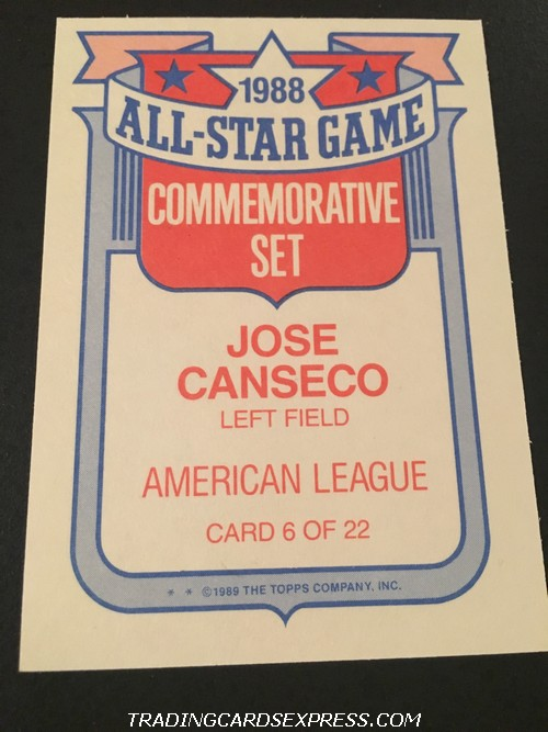 Jose Canseco Athletics 1989 Topps All Star Game Commemorative Set 6 Back