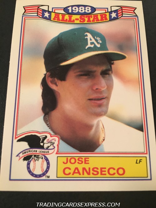 Jose Canseco Athletics 1989 Topps All Star Game Commemorative Set 6 Front
