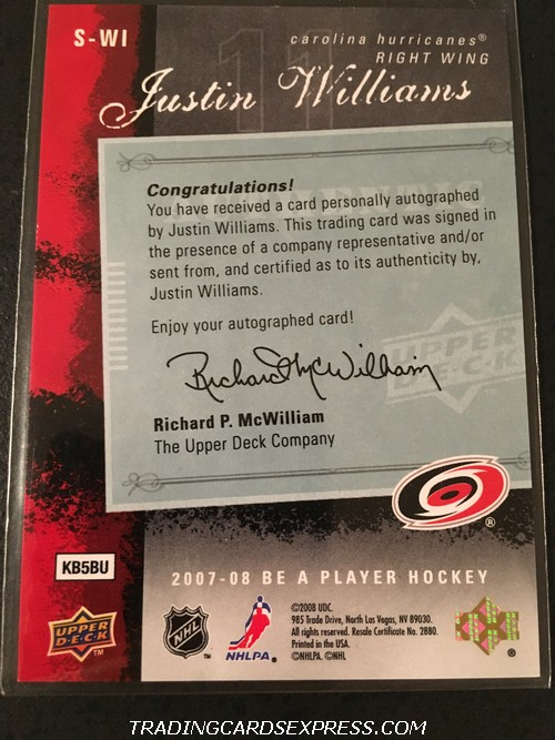 Justin Williams Hurricanes 2007 2008 Upper Deck BAP Signatures Autograph Card SWI Back