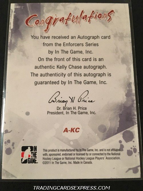 Kelly Chase Blues 2011 2012 ITG Enforcers Autograph Card AKC Back