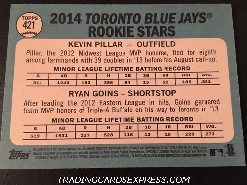 Kevin Pillar Blue Jays Ryan Goins Blue Jays 2014 Topps Heritage Rookie Card 421 Back