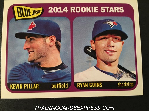Kevin Pillar Blue Jays Ryan Goins Blue Jays 2014 Topps Heritage Rookie Card 421 Front