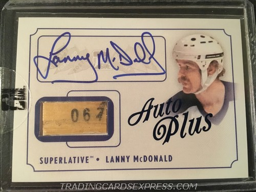 Lanny McDonald Maple Leafs 2013 2014 ITG Superlative The First Six Autograph Plus APLM Front