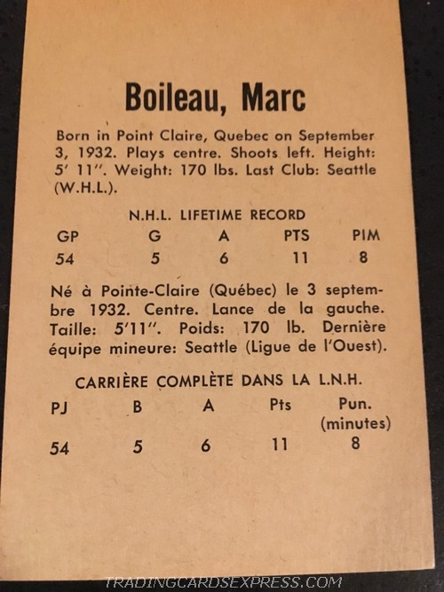 Marc Boileau Red Wings 1962 1963 Parkhurst 29 Back