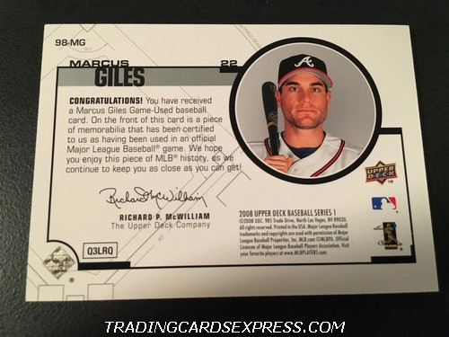 Marcus Giles Braves Padres 2008 Upper Deck Jersey Card 98MG Back