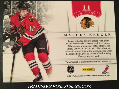 Marcus Kruger Blackhawks 2011 2012 Panini Contenders NHL Ink Autograph Card 11 Back