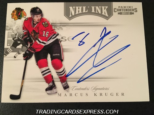 Marcus Kruger Blackhawks 2011 2012 Panini Contenders NHL Ink Autograph Card 11 Front