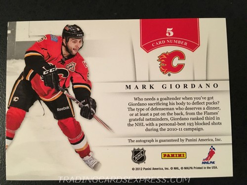 Mark Giordano Flames 2011 2012 Panini Contenders NHL Ink Autograph Card 5 Back