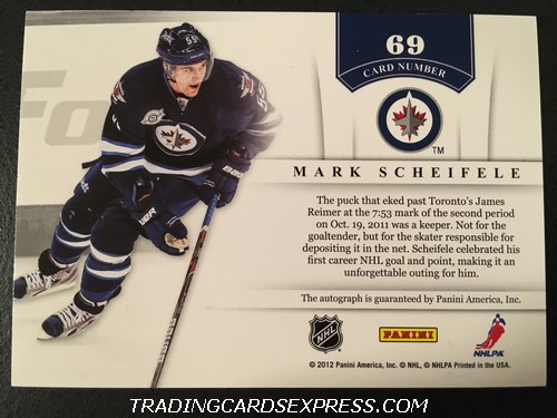 Mark Scheifele Jets 2011 2012 Panini Contenders NHL Ink Autograph Card 69 Back