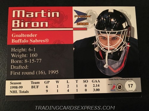 Martin Biron Sabres 1999 2000 Pacific Prism Rookie Card 17 Back