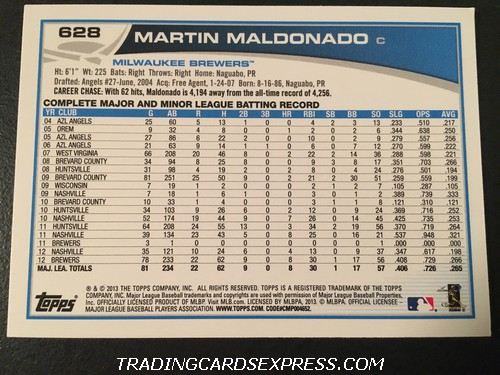 Martin Maldonado Brewers 2013 Topps Rookie Card 628 Back