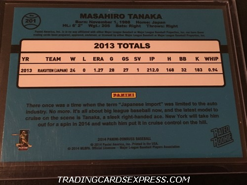 Masahiro Tanaka Yankees 2014 Panini Donruss Rated Rookie Card 201 Back