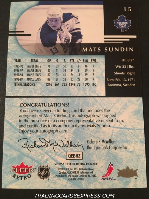 Mats Sundin Maple Leafs 2012 2013 Fleer Retro Autograph Card 15 Back