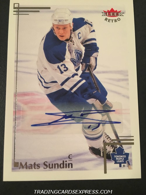 Mats Sundin Maple Leafs 2012 2013 Fleer Retro Autograph Card 15 Front