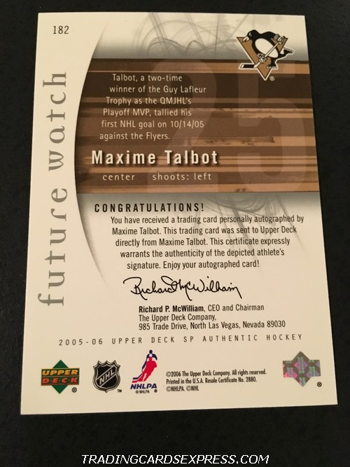 Maxime Talbot Penguins 2005 2006 UD SP Authentic Future Watch Autograph Rookie Card 182 337 999 Back