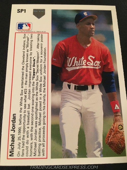 Michael Jordan White Sox 1991 Upper Deck Rookie Card SP1 Back