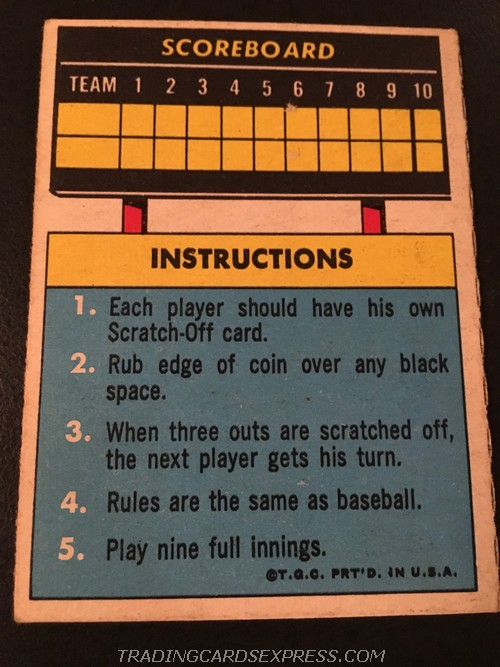 Mike Hegan Seattle Pilots 1970 Topps Scratch Off MIHE Back