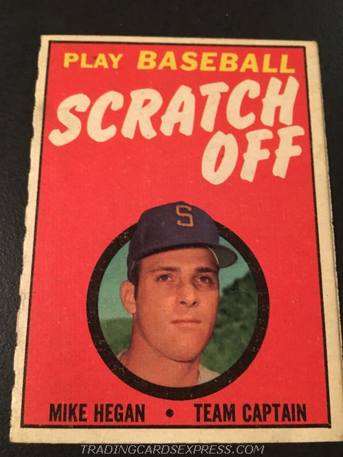 Mike Hegan Seattle Pilots 1970 Topps Scratch Off MIHE Front