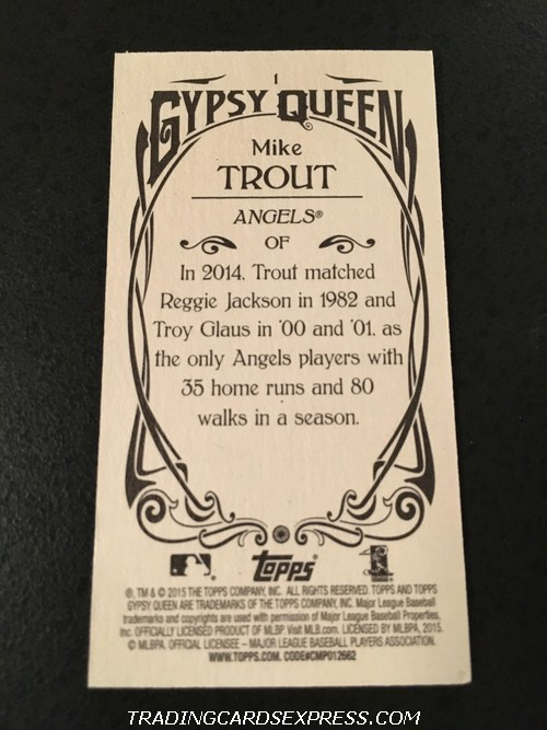 Mike Trout Angels 2015 Topps Gypsy Queen Mini 1 Back