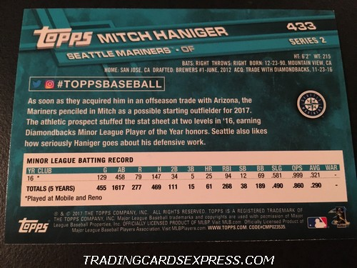 Mitch Haniger Mariners 2017 Topps Rookie Card 433 Back