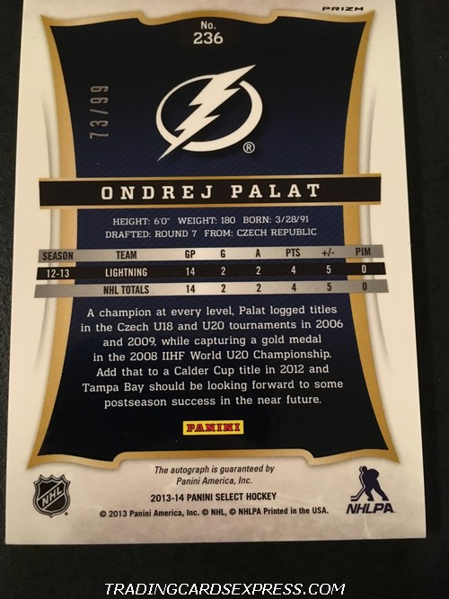 Ondrej Palat Lightning 2013 2014 Panini Select Prizm Autograph Rookie Card 236 73 99 Back