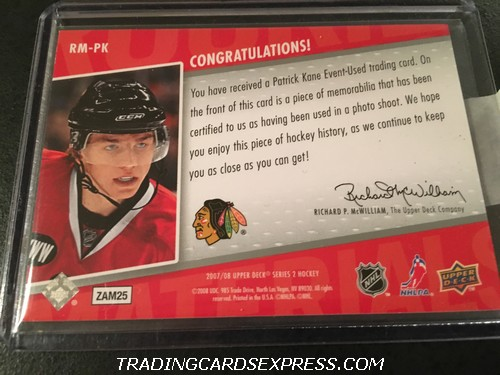 Patrick Kane Blackhawks 2007 2008 Upper Deck Rookie Materials Jersey Card RMPK Back