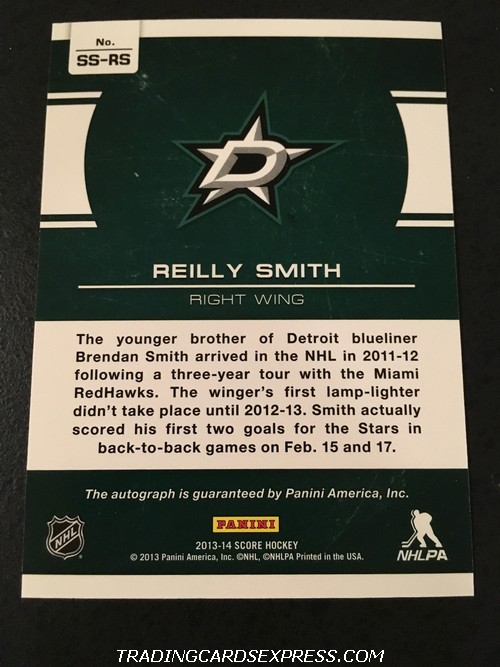 Reilly Smith Stars 2013 2014 Panini Score Signature Autograph Card SSRS Back
