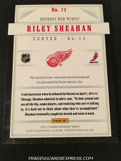 Riley Sheahan Red Wings 2012 2013 Panini Luxury Suite Autograph Jersey Rookie Card 73 36 99 Back