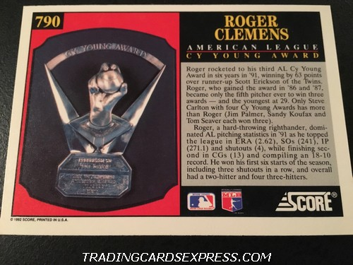 Roger Clemens Red Sox 1992 Score AL CY Young Award 790 Back