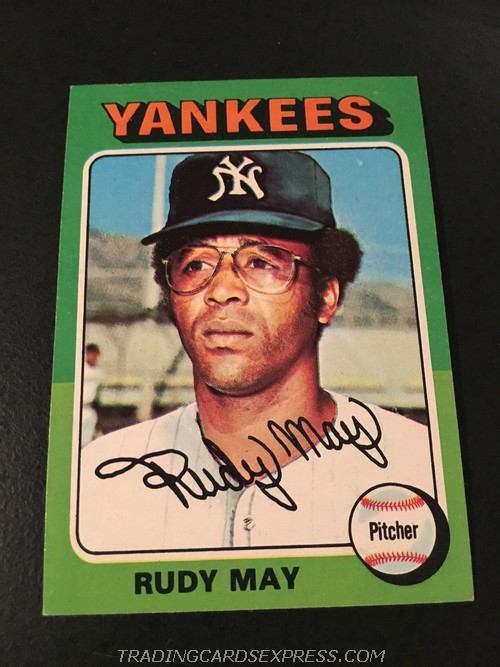 Rudy May Yankees 1975 Topps Mini 321 Front