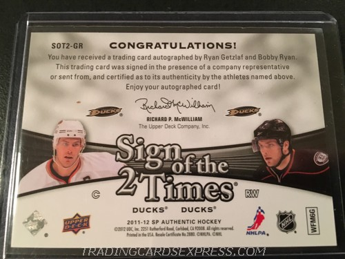Ryan Getzlaf Ducks Bobby Ryan Ducks 2011 2012 SP Authentic Sign Of The Times Duel Autograph Card SOT2GR Back