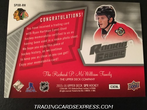 Ryan Hartman Blackhawks 2015 2016 Upper Deck SPX Rookie Fabric Jersey Card SPXRRH Back